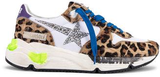 Golden Goose Running Sole Sneaker in Leopard Pony & Silver Glitter   FWRD