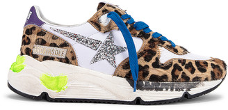Golden Goose Running Sole Sneaker in Leopard Pony & Silver Glitter Star | FWRD