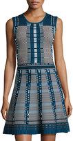 Neiman Marcus Sleeveless Fit-and-Flare Dress, Marine Mist