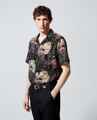 The Kooples Black roomy printed shirt w/Hawaiian collar