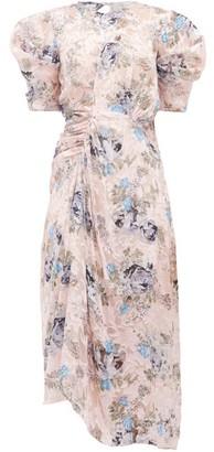 Preen by Thornton Bregazzi Pippa Floral Asymmetric Satin-devore Dress - Pink Print