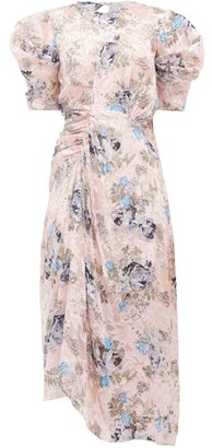 Preen by Thornton Bregazzi Pippa Floral Asymmetric Satin-devore Dress - Womens - Pink Print