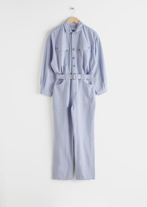 And other stories Belted Organic Cotton Utility Jumpsuit