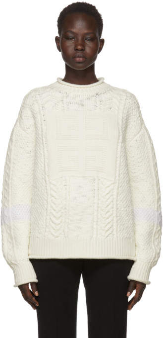 Givenchy Off-White High Neck 4G Fisherman Sweater