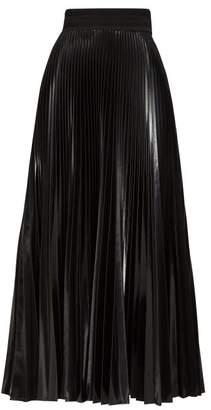 Fendi High-shine Pleated Midi Skirt - Womens - Black