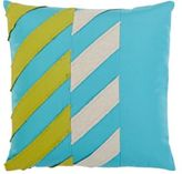 Dransfield and Ross Indoor/Outdoor Chevron-Stitched Pillow-TURQUOISE