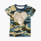 J.Crew Girls' sequin heart camo T-shirt