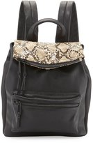Cynthia Rowley Emma Snake-Embossed Flap-Top Backpack, Black/Nude