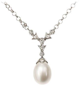 Aspinal of London Victoriana Diamond Pearl Drop Pendant Necklace
