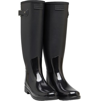 Hunter Womens Refined Tall Gloss Duo Wellington Boots Black