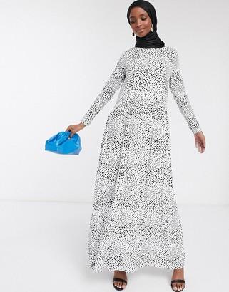 Asos DESIGN maxi dress with long sleeves in mono spot print