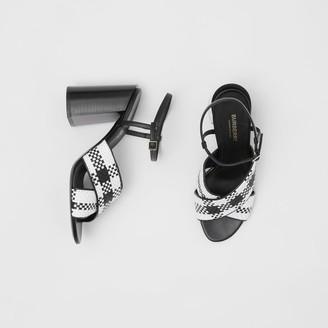 Burberry Latticed Leather Block-heel Sandals