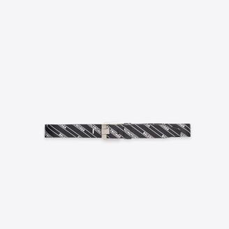 Balenciaga Stripe Logo Engraved Buckle Belt