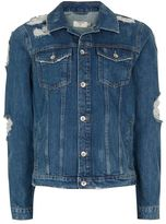 Topman Blue Extreme Ripped Denim Jacket
