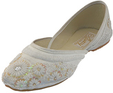 White Floral Beaded Flat