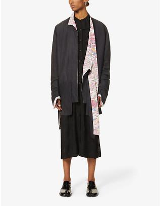 Chia Hung Su Asymmetric floral-lined woven blazer