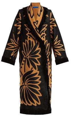 Märit Ilison - Palm Intarsia Tasselled Cotton Coat - Womens - Black Multi