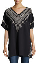 Johnny Was Shobah Long French Terry Poncho, Black, Plus Size