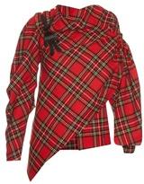 Awake Highlander asymmetric wool-blend tartan blouse