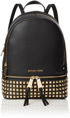 Michael Kors Womens Rhea Zip Backpack Black (Black) 13x30x26 cm (W x H x L)