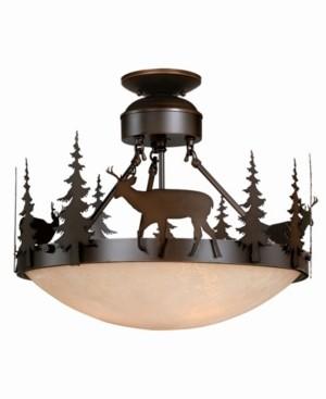Vaxcel Bryce Amber Glass Rustic Deer Semi-Flush Mount Light or Pendant
