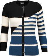 Just Cavalli Striped textured wool-blend cardigan