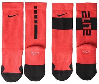 Nike Kids Elite Crew Socks 2-Pair Pack (Little Kid/Big Kid) (Black/White) Kids Shoes