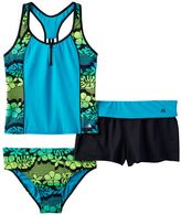 ZeroXposur Girls Plus Size Tropical Flower Racerback Tankini Top, Bottoms & Shorts Swimsuit Set