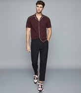 Reiss Horsey - Cuban Collar Button Through Top in Bordeaux