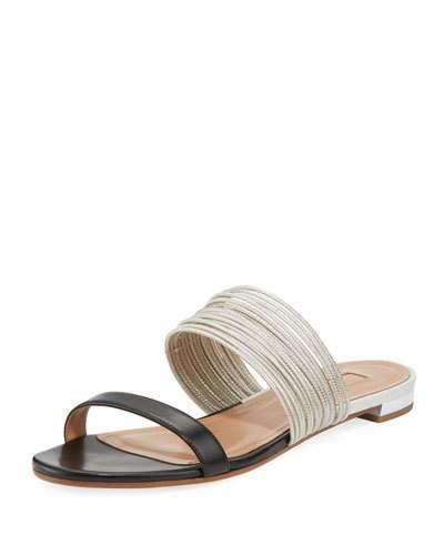 Aquazzura Rendez Vou Two-Tone Flat Slide Sandal