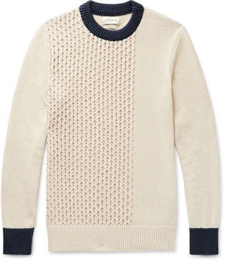 Oliver Spencer Blenheim Slim-Fit Contrast-Tipped Textured Organic Cotton Sweater