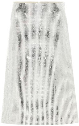 Bottega Veneta Embellished linen-blend midi skirt