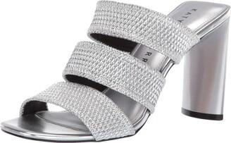 Katy Perry Women's The CALI-Metallic Scrunchie Heeled Sandal silver 5.5 M Medium US