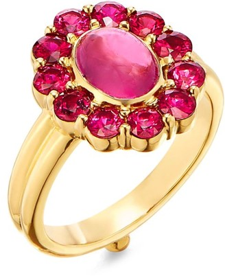 Temple St. Clair Dreamcatcher 18K Yellow Gold, Ruby & Pink Tourmaline Ring