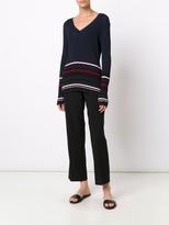 Jason Wu Viscose Knit V Neck Pullover With Striped Cuff