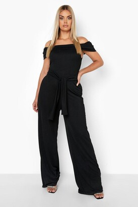 boohoo Plus Off Shoulder Wide Leg Self Belt Jumpsuit