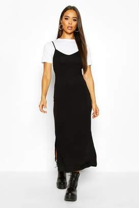 boohoo T-Shirt Layered Midaxi Slip Dress