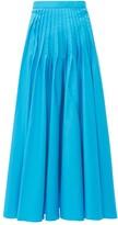 Roksanda Ambra Pintuck-pleat Cotton-poplin Midi Skirt - Womens - Blue