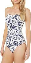 Anne Cole Women's Navy and White Paisley Bandeau One Piece Swimsuit