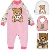 Moschino MoschinoGirls Pink Teddy Romper Gift Set (3 Piece)