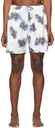 Saturdays NYC White Timothy Peak Palm Swim Shorts