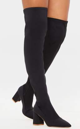 PrettyLittleThing Black Wide Fit Low Block Heel Thigh High Boot