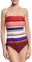 Kate Spade Striped Ruched-Side Bandeau One-Piece Swimsuit, Pink