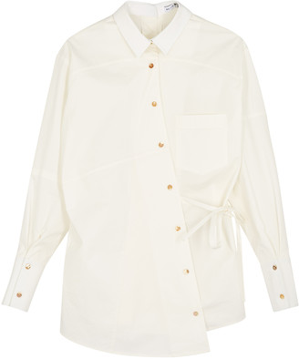 REJINA PYO Tatiana white cotton-blend shirt