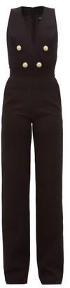 Balmain Surplice-neck Button-embellished Wool Jumpsuit - Womens - Black