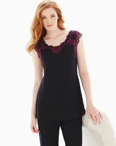 Soma Intimates Lace Short Sleeve Pajama Top Black/Honeysuckle