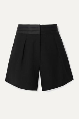 Frame Satin-trimmed Pleated Crepe Shorts - Black