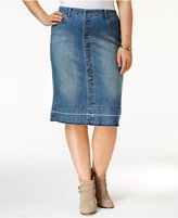 Style&Co. Style & Co Plus Size Button-Front Denim Skirt, Only at Macy's