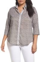 Foxcroft Plus Size Women's Mary Ikat Geo Print Shirt