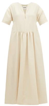 Jil Sander Side-stripe V-neck Linen Dress - Womens - Beige Multi